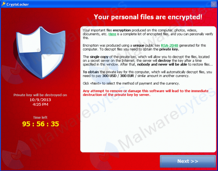 Cryptolocker Virus Encrypts All Your Data
